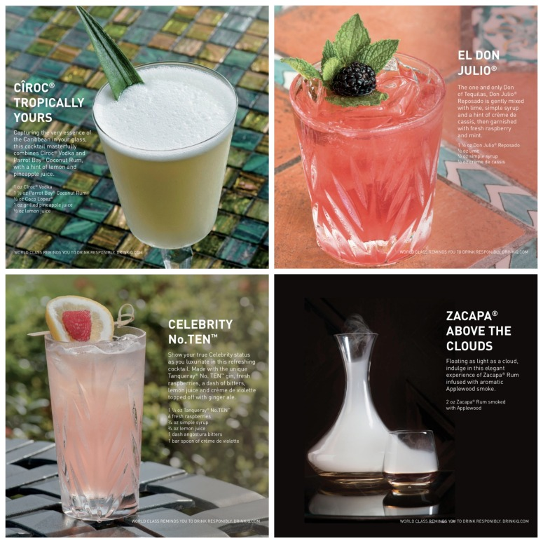 Drink Menu Options from Celebrity Cruises World Class Bar